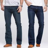 Jean coupe botte homme coupe ajustée légèrement évasée marque célèbre bleu noir jean design classique jean Stretch homme