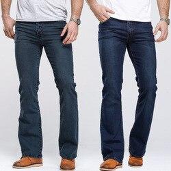 Herren Boot Cut Jeans Leicht Ausgestellte Slim Fit Berühmte Marke Blau Schwarz jeans Designer Klassischen Männlichen Stretch Denim jeans
