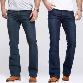Męskie jeansy typu boot-cut lekko rozkloszowane Slim Fit znane marki niebieskie czarne dżinsy projektant klasyczne męskie dżinsy Stretch tanie i dobre opinie HAN DI LONG Zipper fly NONE Stałe Denim 3955 Boot cut light Szczupła Na co dzień Midweight Pełnej długości Zmiękczania