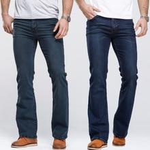 Mens Boot Cut Jeans Slightly Flared Slim Fit Famous Brand Blue Black j