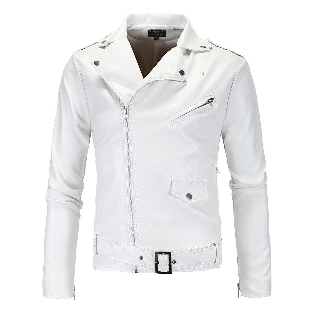 Aowofs 2019 Boutique Men Fashion Locomotive Leather Coat England White Washing Leather Coat Of Goods Xy018