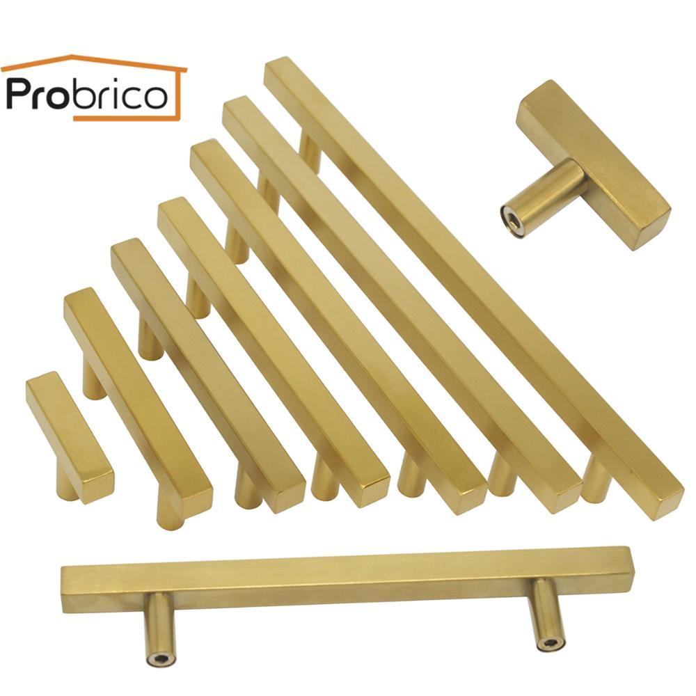 Probrico Gold Furniture Pulls Square Bar Kitchen Cabinet Handles Stainless Steel Drawer Dresser Closet Knobs Furniture Hardware