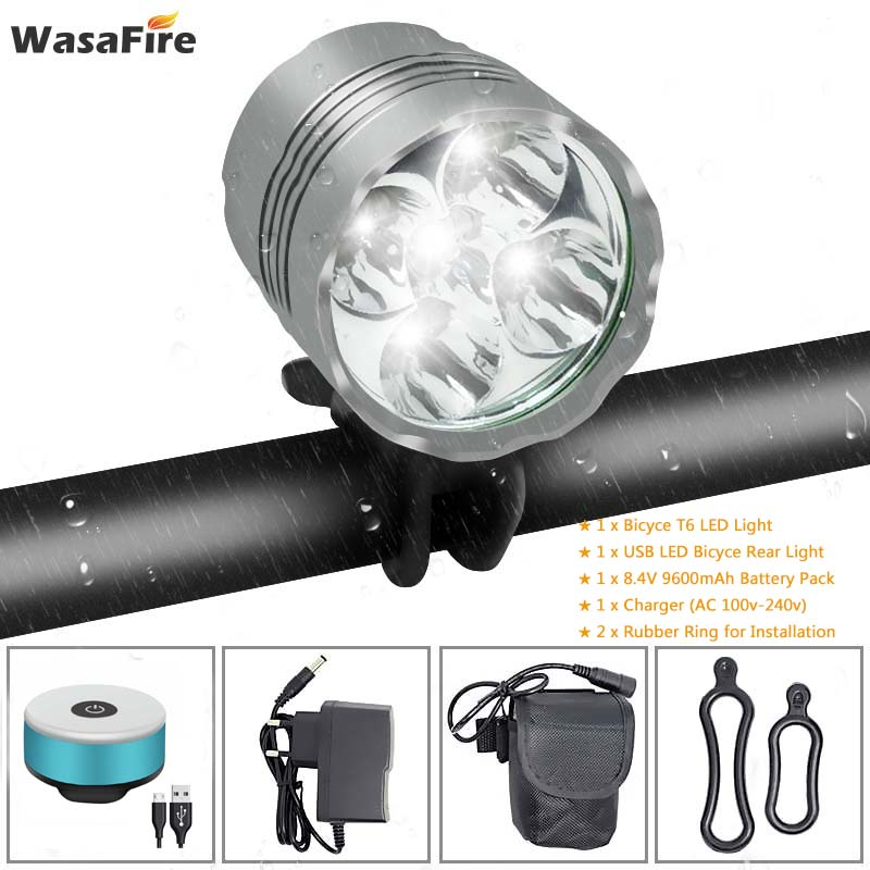 WasaFire <font><b>7000</b></font> <font><b>Lumen</b></font> Bike <font><b>Light</b></font> Headlamp Lantern 5*T6 LED <font><b>Bicycle</b></font> Headlight 9600mAh Battery + USB Cycling Warning Rear <font><b>Lights</b></font> image