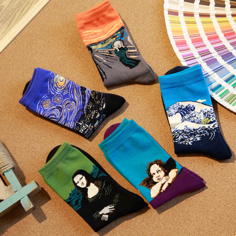 Men Cotton Retro Classic World Famous Oil Painting Socks Mona Lisa Starry Sky Top Fashion Art Crew Socks Us9-13 (5Pairs/Lot)