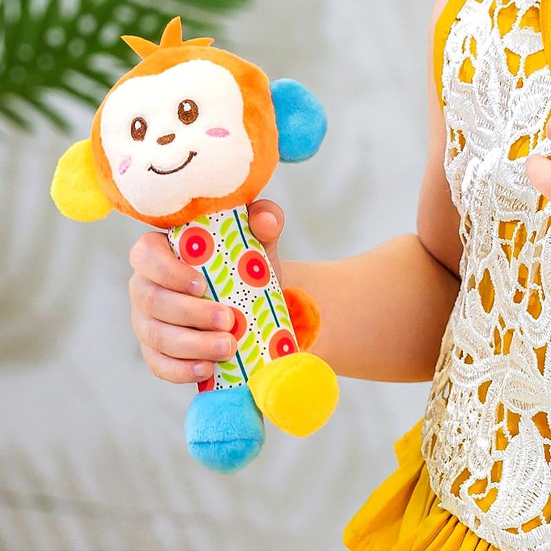 6 стилей, детская коляска-погремушка, колокольчик, Детские ручные игрушки-животные, подвесная мультяшная плюшевая погремушка для