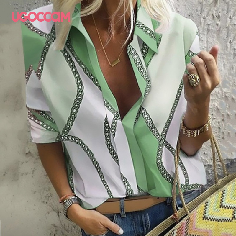 H56e628c8561e410ab088a43a1f280cb4x - UGOCCAM Women Blouse Long Sleeve Blouse Shirt Print Office Turn-down Collar Blouse Elegant Work Plus Size Tops Fashion Women Top