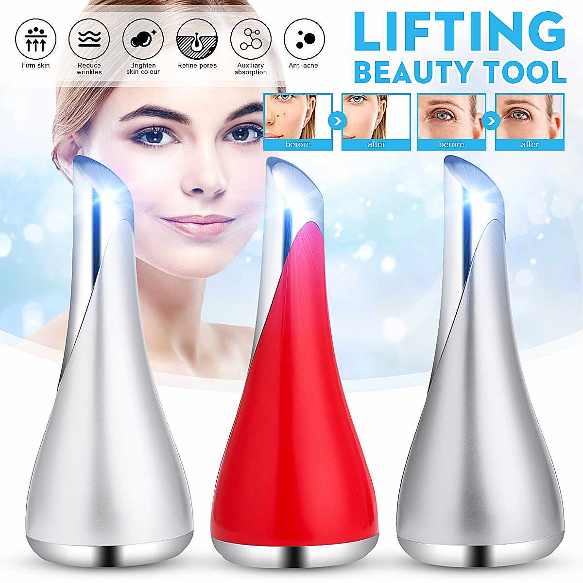 Mini Magnetic Therapy Machine Anti-aging Face Massager Eye Bag Wrinkle Remover Ion Therapy Skin Rejuvenation Essence Import Tool