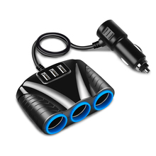 3 Way 3.1A Blue Led Car Cigarette Lighter Socket Splitter Hub Power Adapter 12V 24V 3 USB Port for iPad Smartphone DVR GPS