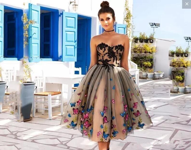 Vestidos de Cóctel árabes cortos Nude 2020 sin hombros con lazo hasta el té con corte en A, vestidos modestos de fiesta de graduación, vestidos de noche baratos hechos a medida|Vestidos inspirados en celebridades|   - AliExpress