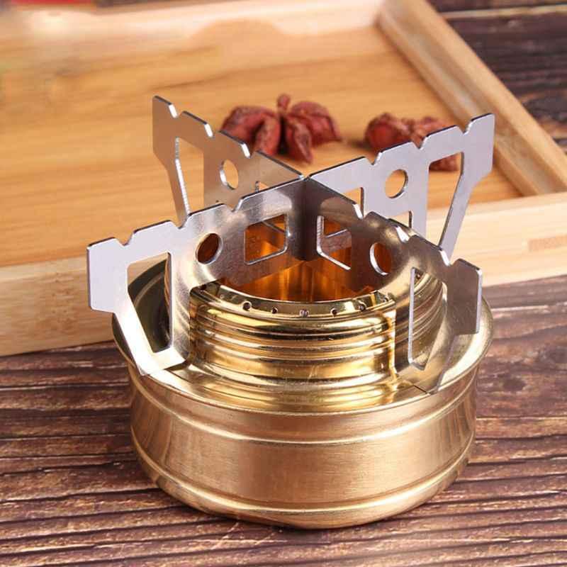 Berkemah Di Luar Ruangan Kompor Alkohol Cross Stand Stainless Steel Mini Piknik Kompor Rak