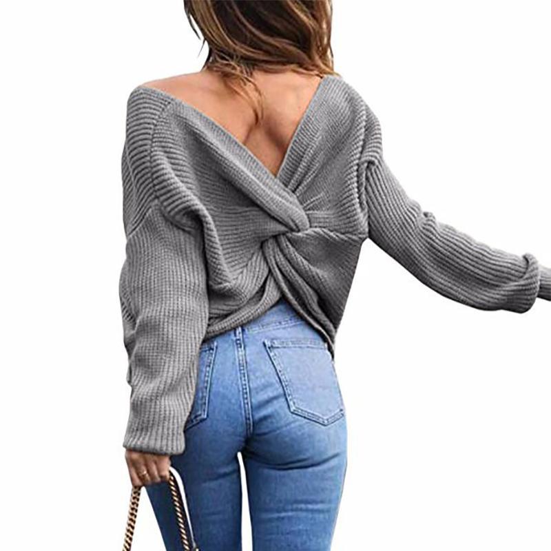 Женский свитер с открытой спиной вязаный длинным рукавом и перекрестной