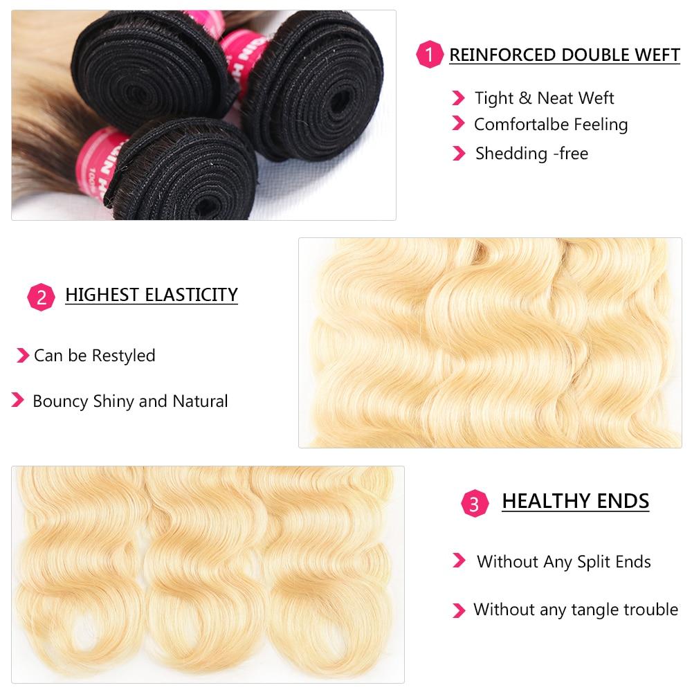 Nadula Hair  Body Wave Hair Bundles With Lace Frontal 3 Bundles T1b/613 Hair 13*4  Bundles With Closure 4