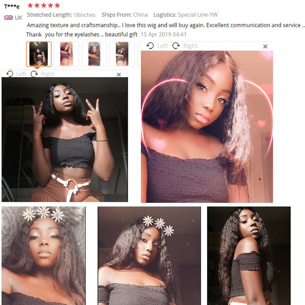 Image 2 - Sapphire 4*4 Deep Part Lace Wigs Brazilian Human Hair Wigs Pre Plucked Yaki Straight Kinky Straight Lace Closure Wigs For Women-in Lace Front Wigs from Hair Extensions & Wigs