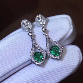 fashion simple water drop natural green Emerald drop earrings Natural gemstone drop earrings S925 silver woman girl gift jewelry