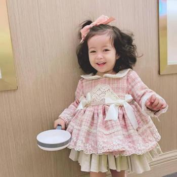 3PCS Baby Girl Clothes Thicker Wool Plaid Vintage Spanish Lolita Princess Ball Gown Dress for Girl Birthday Party vestidos Y2657