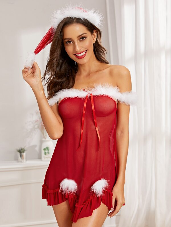 <font><b>Sexy</b></font> Lingerie Babydoll Set Women Santa Fancy Dress <font><b>Costume</b></font> <font><b>Outfit</b></font> <font><b>Christmas</b></font> Underwear Night Dress image