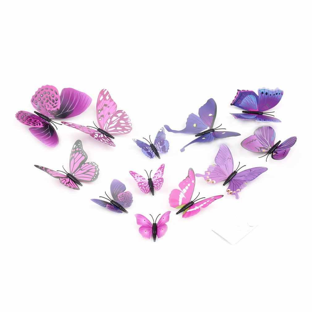 12 Uds., maravilloso diseño artístico, etiqueta de la pared, decoración del hogar, decoración de la habitación negra, azul, rojo, amarillo, decoración de la boda de la mariposa 3D