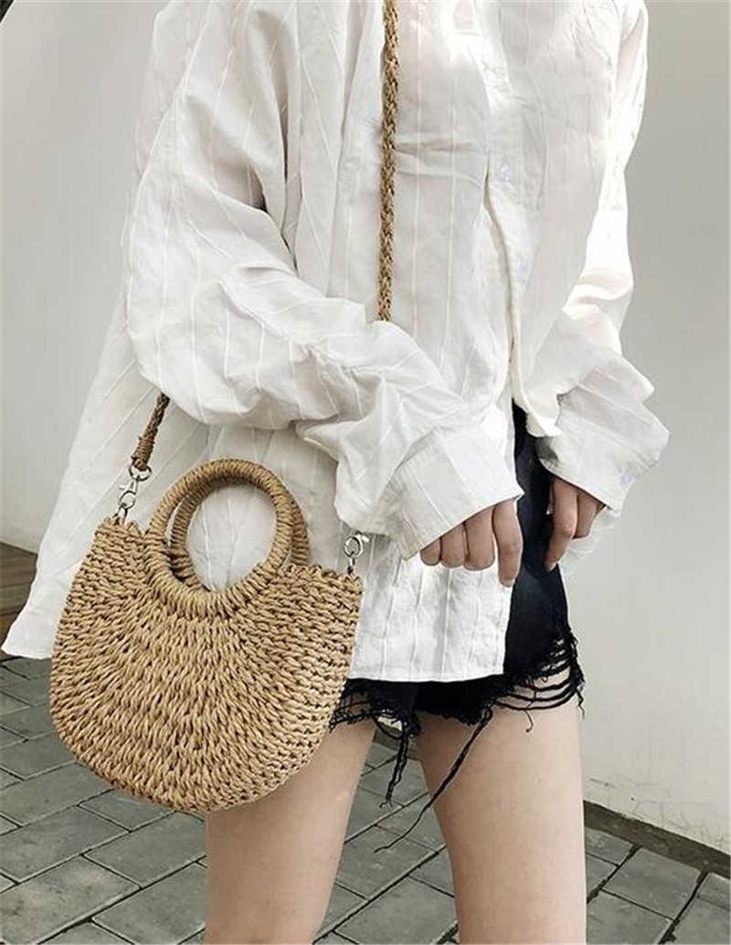 Women Handmade Crossbody Messenger Straw Bag Round Rattan Tote Shoulder Handbag