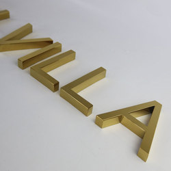 Espejo dorado/cepillado acero inoxidable sin iluminación corte láser publicidad letras 3D exterior carta duradera