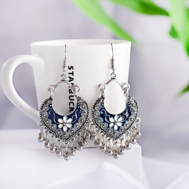 Boho Gypsy Tassel Indian Drop Earrings 2020 Women Orecchini Jewelry Ladies Retro Blue Flower Silver Color Jhumka Earrings
