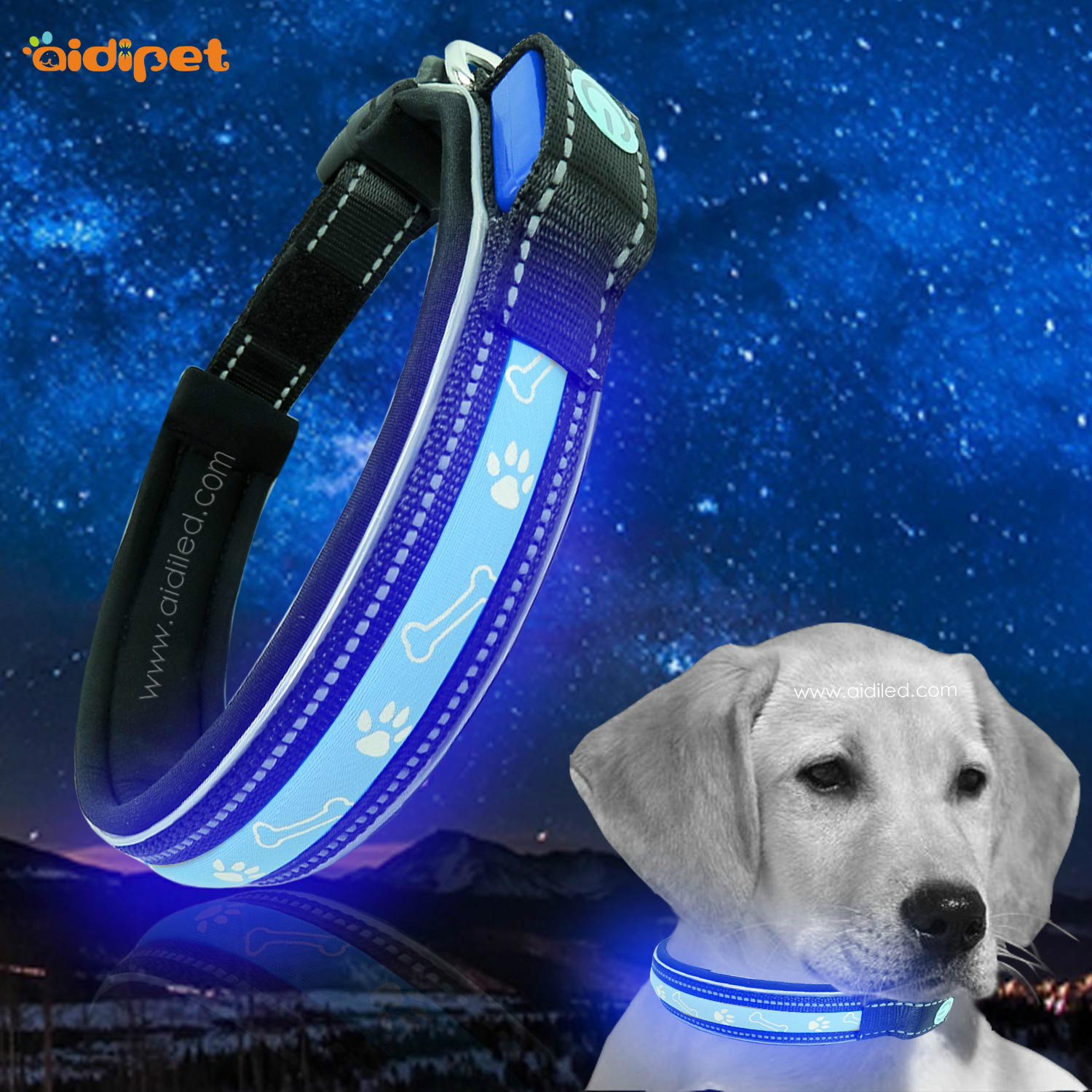 New Style LED Pet Collar USB Charging Multi-functional Printed Pattern Night Luminous Collar Dog Neck Ring