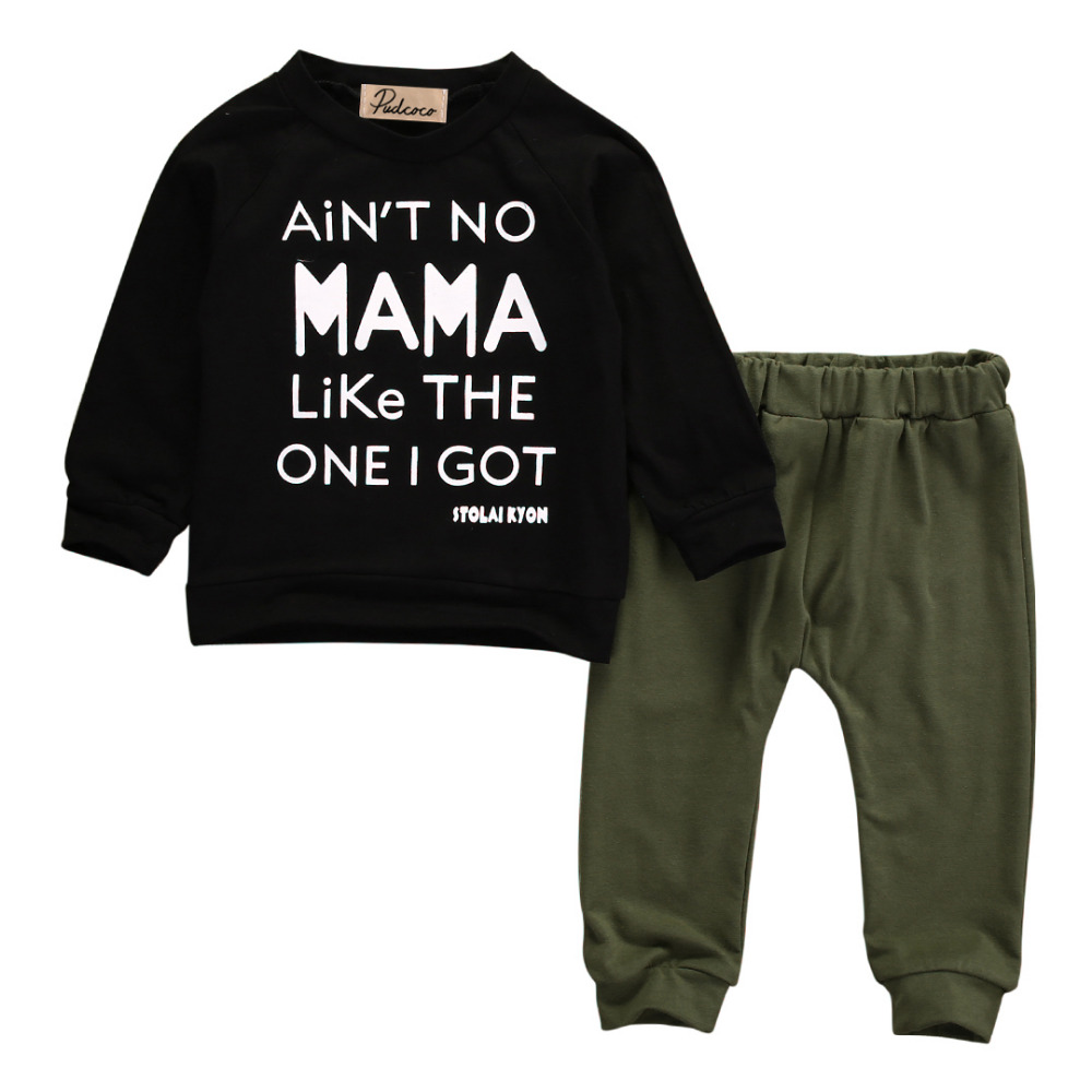 Newborn Infant Baby Boy Hoodie Sweatshirts Mamas Boy Tracksuit Top+Stripe Pant Toddler Autumn Outfit Clothes Set