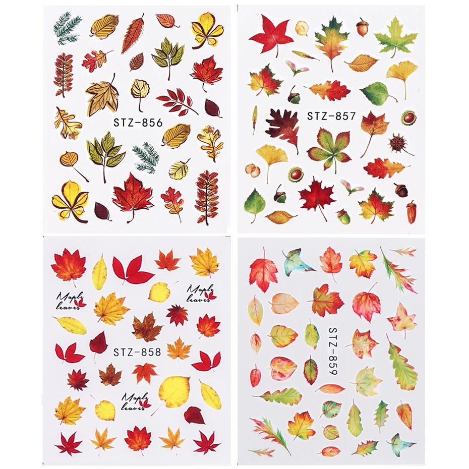 Image 5 - 1pcs Fall Leaves Nail Art Stickers Gold Yellow Maple Leaf Water Decals Sliders Foil Autumn Design For Nail Manicure TRSTZ856 859-in Stickers & Decals from Beauty & Health