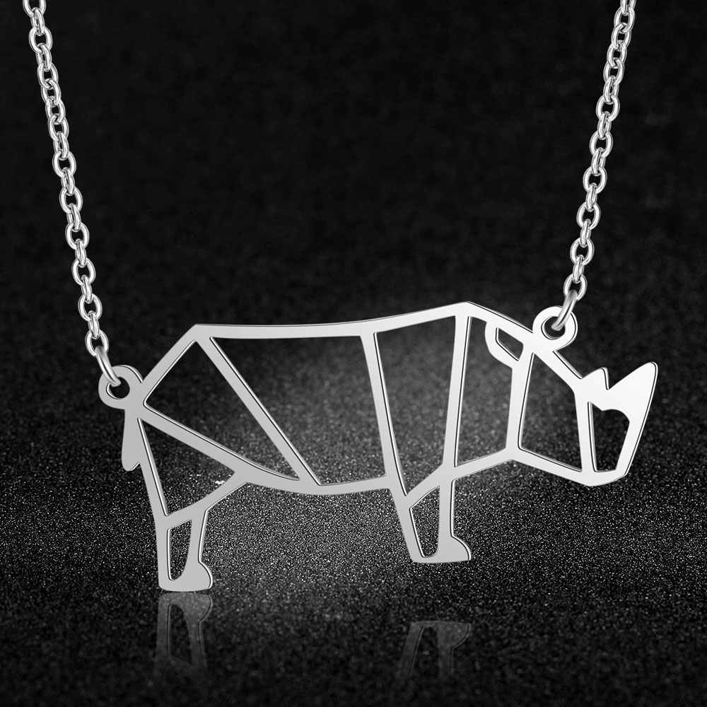 100% Real Stainless Steel Hollow Rinoceros Necklace Fashion Animal Pendant Necklaces Amazing Design Trend Jewelry Necklaces