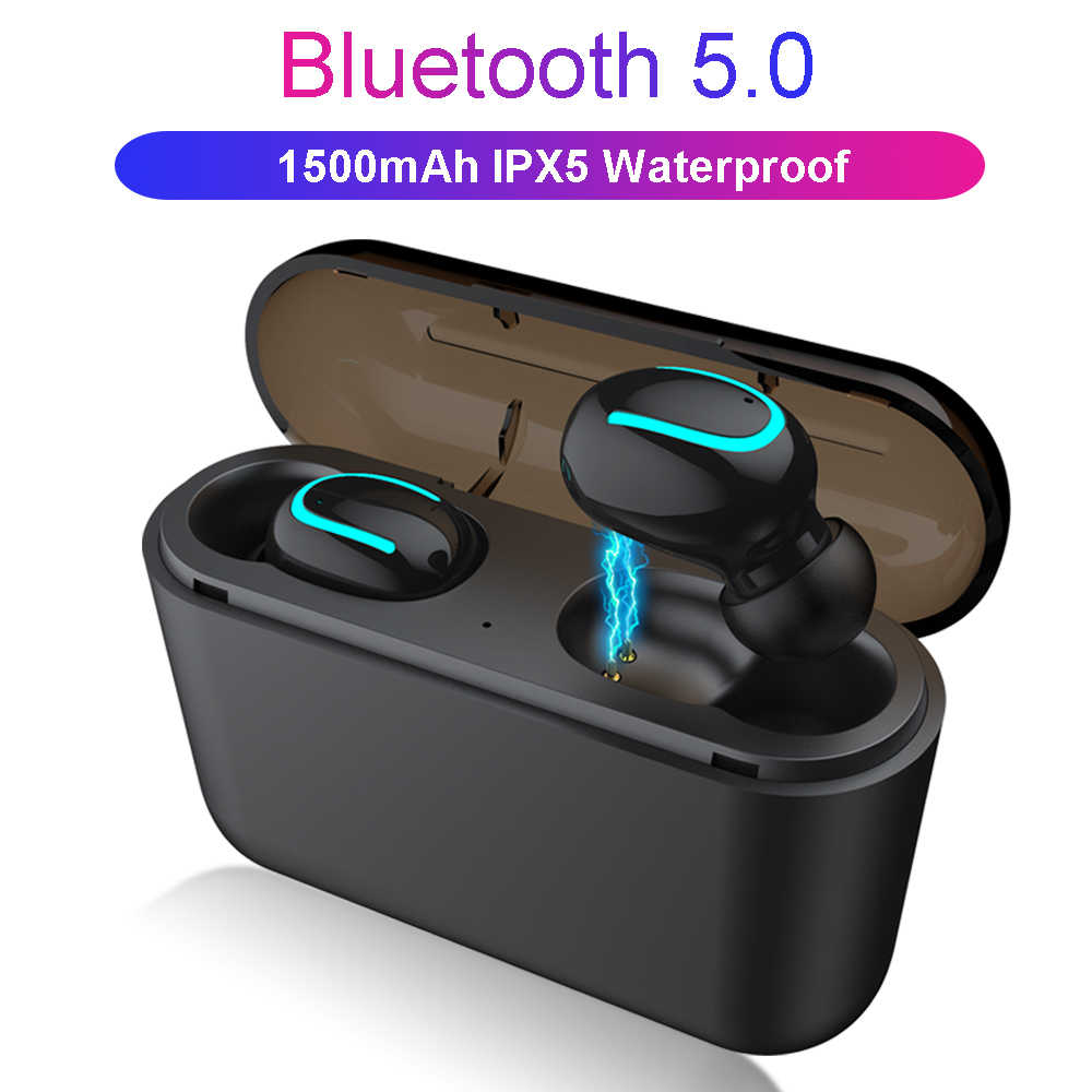 Tws Bluetooth 5.0 Earphone In-Ear Nirkabel Blutooth Earphone Handsfree Head-Ponsel Olahraga Earbud Headset dengan Power Bank