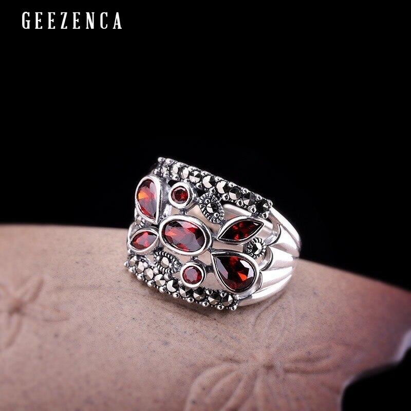 925 bague en argent Sterling avec pierres précieuses grenat corindon marcassite large ouvert anneaux à la mode Vintage concepteur bijoux fins pour les femmes cadeau