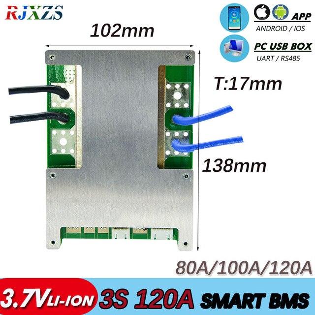 חכם BMS 3S 60A/80A/100A/120A 11.1V Bluetooth ליתיום יון PCM עם UART התכתבות חיצוני תוכנה (PC) צג