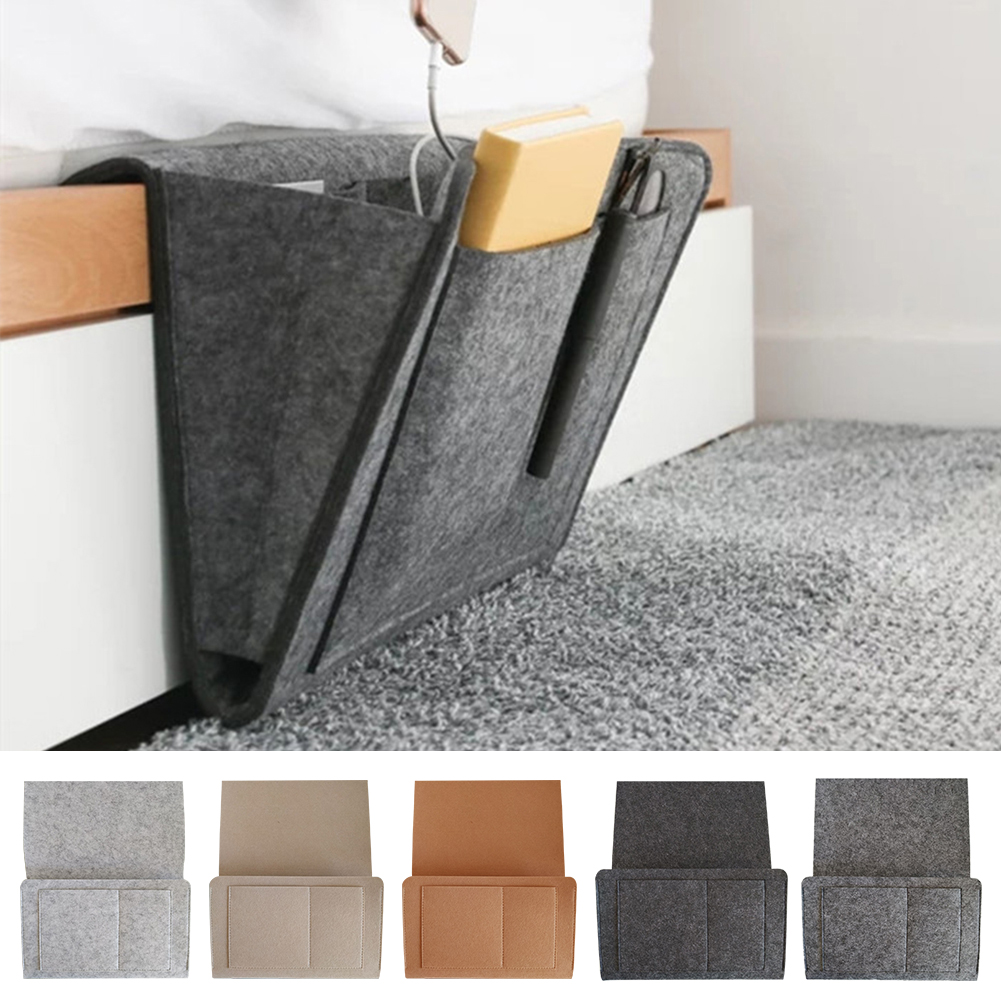 HANGING BAG BEDSIDE STORAGE ORGANIZER BED SOFA PHONE HOLDER BOOK POUCH WITH HOOK