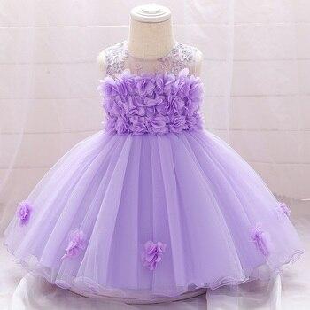 Платье для маленьких девочек платье для дня рождения для маленьких девочек от 0 до 24 месяцев, с вышивкой и бантом, платье для стирки празднич...