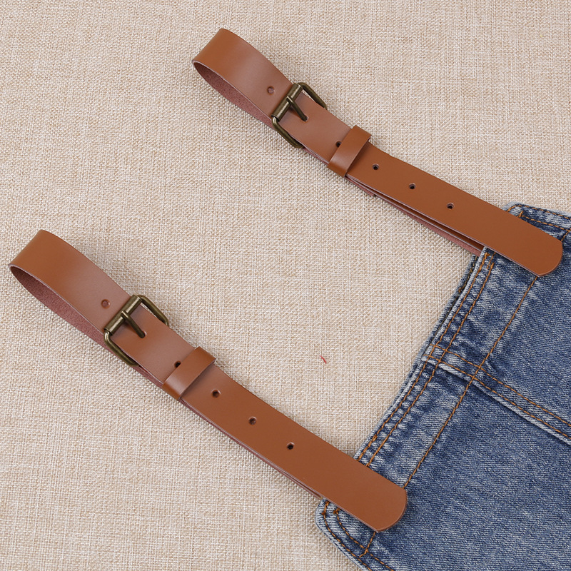 Cowboy Suspender Pants On Strap A Pair Of Genuine Leather Cowhide Durable 2.5 Centimeter Wide Strap Dress Replacement Strap