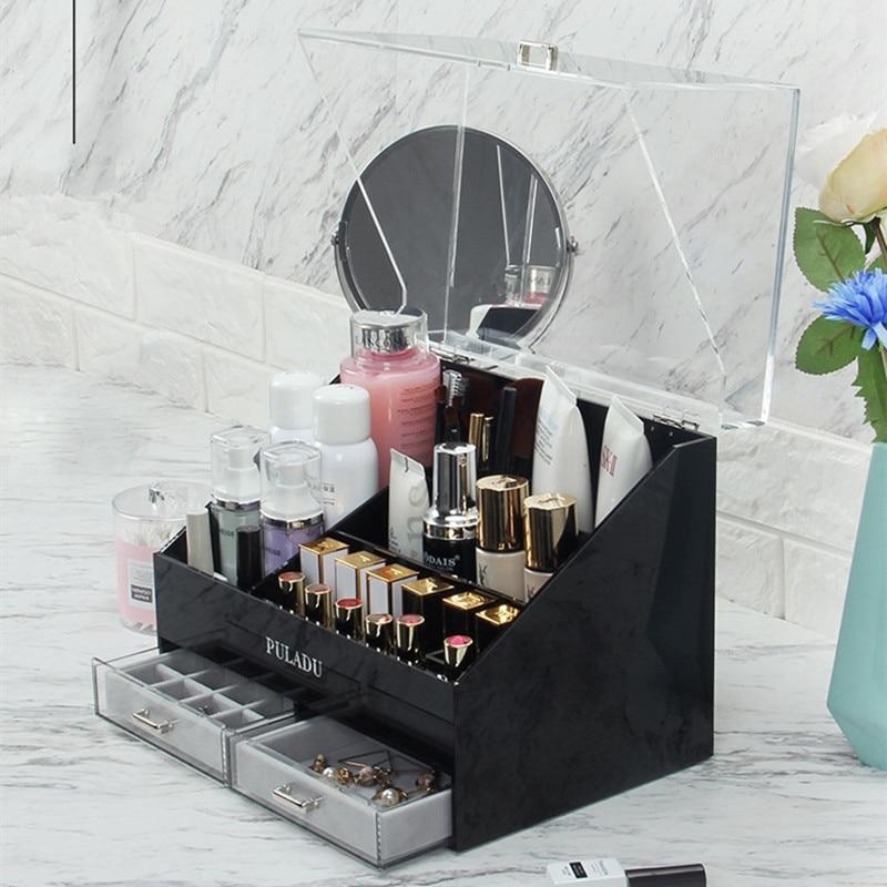 European Acrylic Cosmetic Storage Box Lipstick Dustproof Large Capacity Cosmetic Box Skin Care Products Shelf Desktop