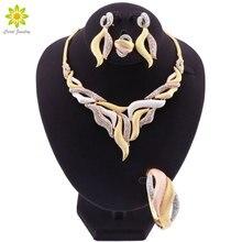 Mode Dubai Schmuck Sets Für Frauen Luxus Afrikanische Hochzeit Braut Schmuck Sets Halskette Ohrringe Armband Ring für Frauen