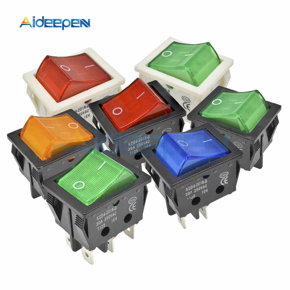 KCD4 High Current Rocker Switch Power Switch 2 position ON-OFF 4 Pins 6 Pins Electrical Equipment With Light Switch 30A 250V