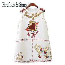Primavera verão qualidade meninas vestido de bebê crianças marca vestidos sem mangas roupas coração carta impressão 2 a 9 anos