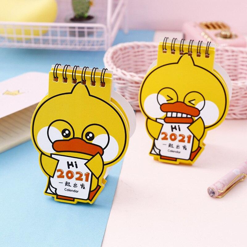 2021 Cartoon Yellow Duck Calendar Kawaii Duck Mini Desk Calendars Daily Schedule Planner 2021.9-2021.12 3