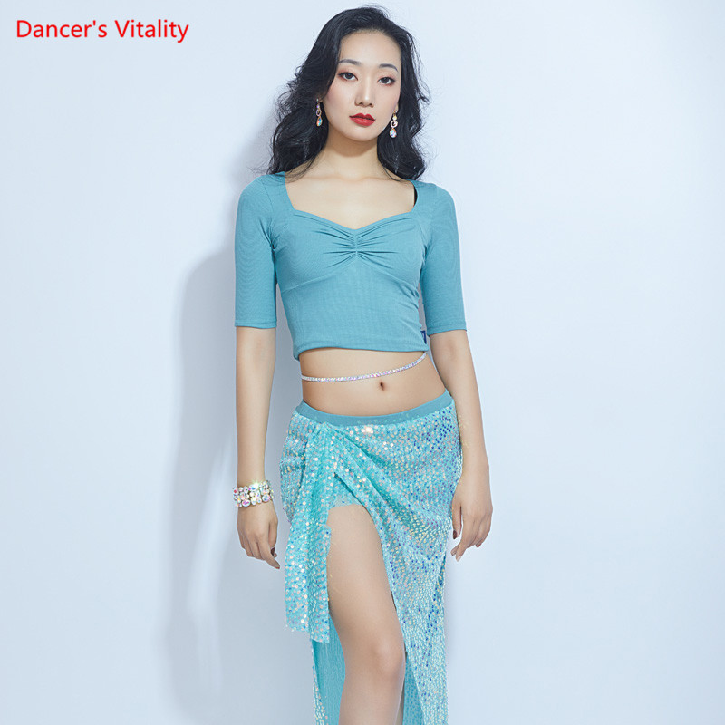 Women Belly Dance Practice Clothes Spring And Summer New Sequin Skirt Sexy Jacket Costume Suit Oriental Dance Competition Set