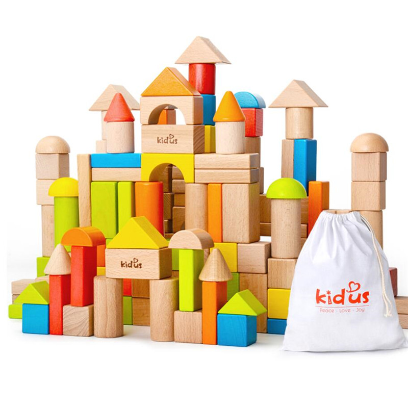 Geometric Assembling Building Blocks Colorful Beech Wood 80 PCS Wooden Blocks Early Educational Toy