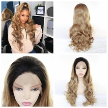 MRWIG Long Wavy Black Ombre Blonde 27# Synthetic Glueless Front Lace Wig Free Part For African Americans цена 2017