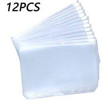 Folders Binder Files Notebook Clear Zipper A5 6-Ring A7 A6 PVC for 12PCS Convenient