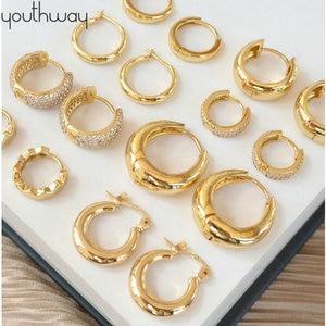 INS Gold Color Brass Hoop Huggies Earrings Small Large Circle Hoops CC Shape Statement Earrings Women Girls UniqueMetal Jewelry