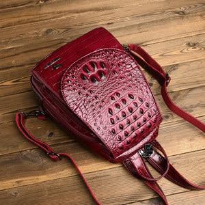 Image 5 - 新バックパック豪華なワニのパターンレザーバックパック女性高品質ショルダーバッグブランド学校十代の少女