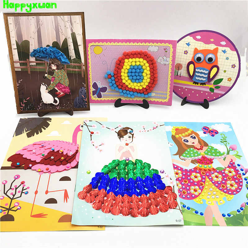 Happyxuan 6 Designs DIY Paper Arts And Crafts Kits Children Creativity Handicrafts Girls Kindergarten Education Toys 5-10 Years
