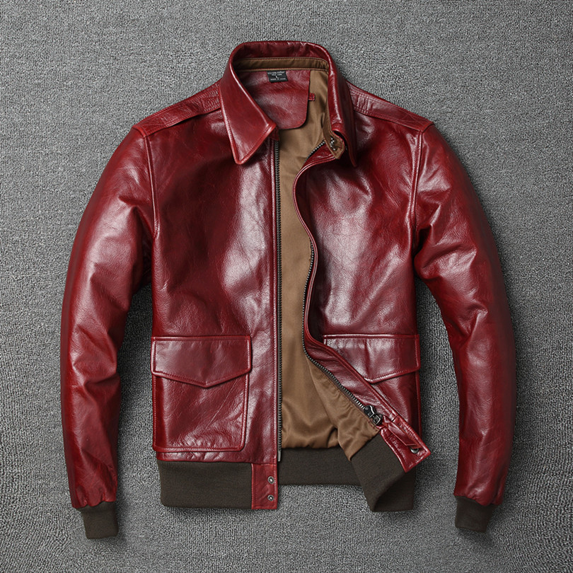 Free shipping Warm Mens classic genuine leather Jacket quality men s vintage flight jackets Eur Plus Innrech Market.com