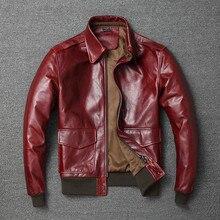 Free shipping.Warm Mens classic genuine leather Jacket,quality men's vintage fli