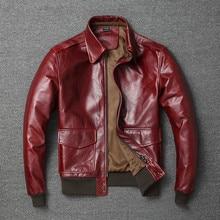 จัดส่งฟรี.Vintage Mens Classic Casualของแท้หนังแจ็คเก็ต,คุณภาพสูงเที่ยวบินเสื้อผ้าa2หนังCoatขายส่ง