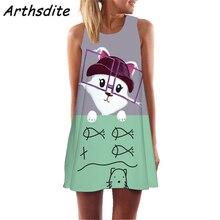 Summer Dress 2019 Women Animal Cat Print Beach Mini Dress Boho Sexy Dress Woman Party Night Vestidos Elegantes Robe Longue недорого